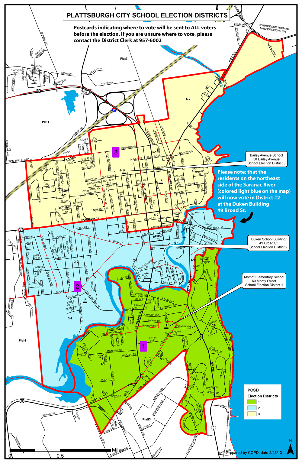 This is a map of the election districts for the Plattsburgh City School District. To find out where your polling station is located, please call the District Clerk at 518-957-6002.